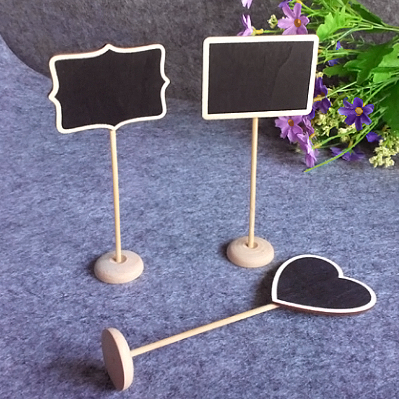 Behogar 10pc Modern Rectangle Heart-shaped Wooden Holder Blackboard Message Board Seat Number Tag Sign Stent Wedding Party Decor