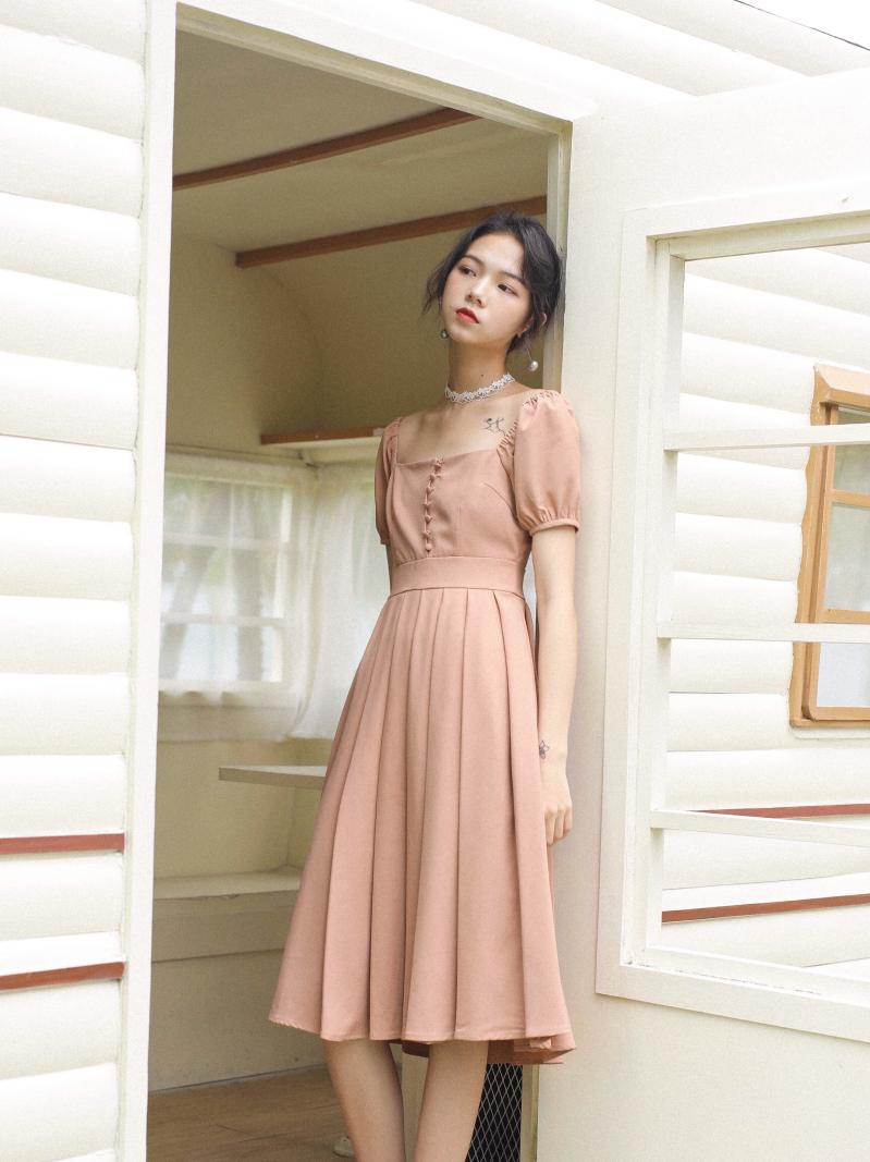 2019 New Fashion Women's Dresses Summer French Square Neck Dress Short Sleeve Retro