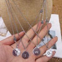 925 Silver English Letter Round Brand Necklace for Men and Women with Retro Crown Clavicle Chain Sweater Chain