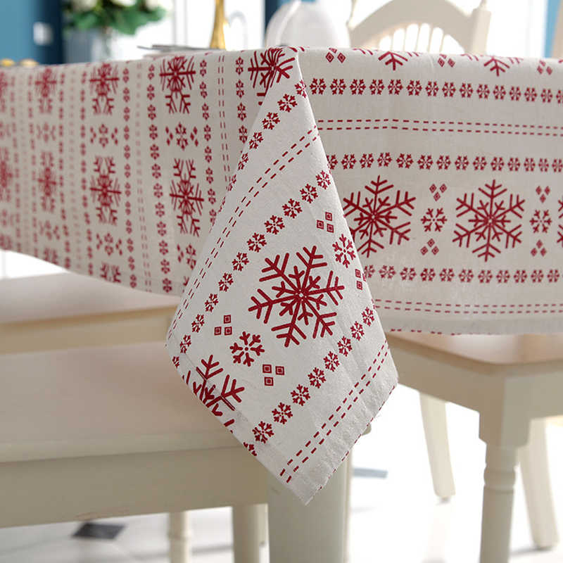 Customizable Linen Cotton Tablecloth Red Snowflakes Christmas Table Cloth for Wedding Banquet Washable Table Cover Textiles