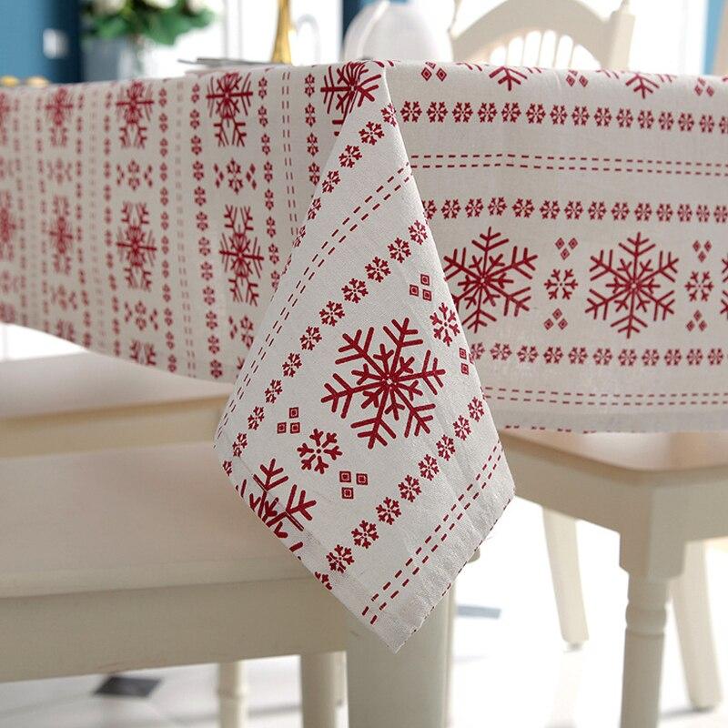 Anpassbare Leinen Baumwolle Tischdecke Rot Schneeflocken Weihnachten Tischdecke für Hochzeitsbankett Waschbar Tischabdeckung Textilien