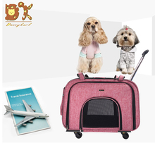 DannyKarl 2019 New High-End Fashion Four-Wheeled Pet Trolley Case Mute Wheel Cat Dog Detachable Out Portable Bag