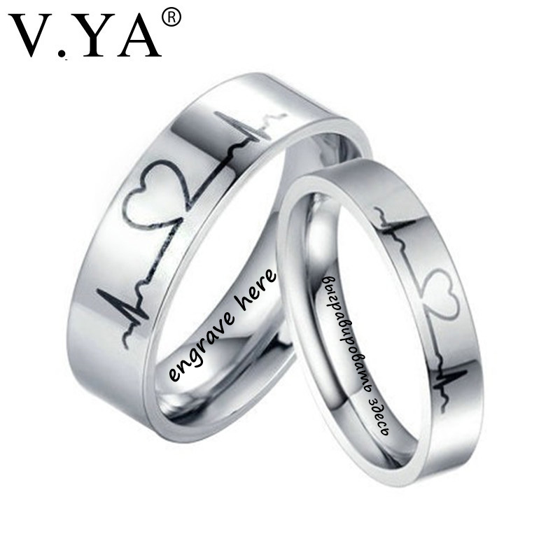 V.YA Romantic Titanium Steel Couple Rings Unique Electrocardiogram Pattern Engagement Rings Women & Men Wedding Jewelries Charms titanium ring