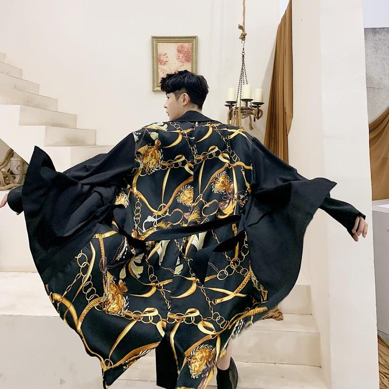 Men Fashion Casual Thin Long Trench Coat Male Streetwear Hip Hop Cardigan Jacket Windbreaker Outerwear