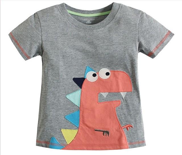 2016 meninos de verão de algodão de manga curta O Pescoço design de moda teste padrão do Dinossauro camiseta crianças marca t tops roupas de bebê menino