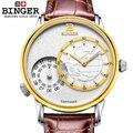 Новые роскошные Брендовые мужские часы с двойным циферблатом  Кварцевые Золотые сапфировые часы с кожаным ремешком  1 год гарантии BG0389