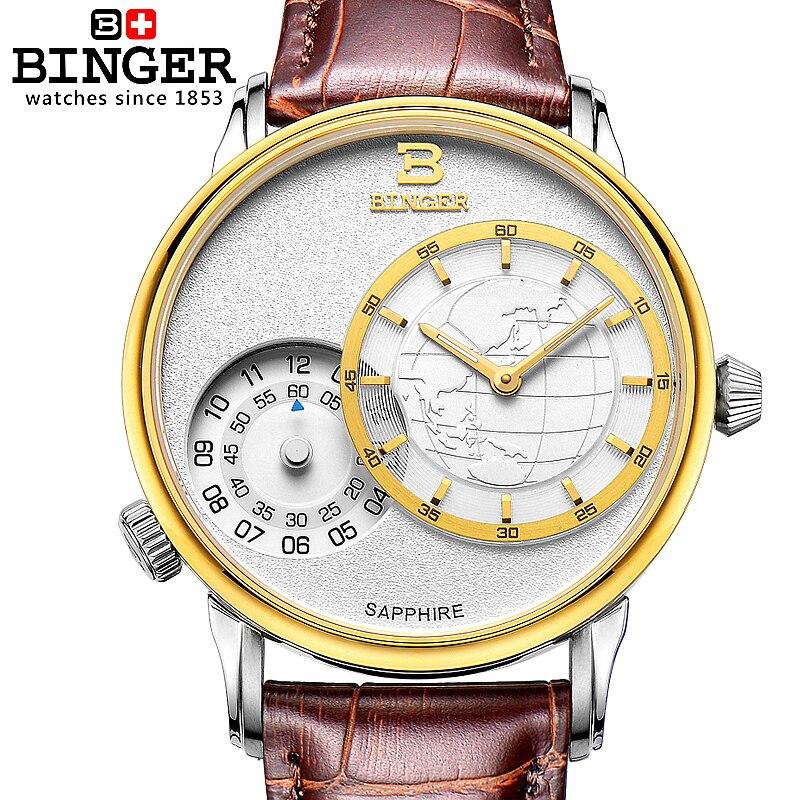 2017 Luxury brand men's watch Double dial quartz gold sapphire leather strap clock 1 year Guarantee BG0389 wristwatches luxury brand men quartz gold watch sapphire leather strap watches men 12 month guarantee bg0389