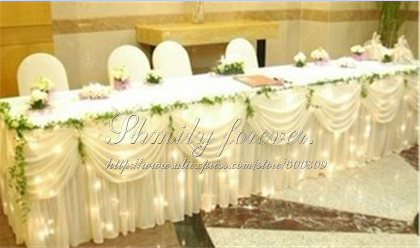 Hot 400cm Width X80cm Height Newly Design White Color Ice Luxurious Satin Table Skirting Designs For Wedding Gathered Skirts Ruffled Cloth
