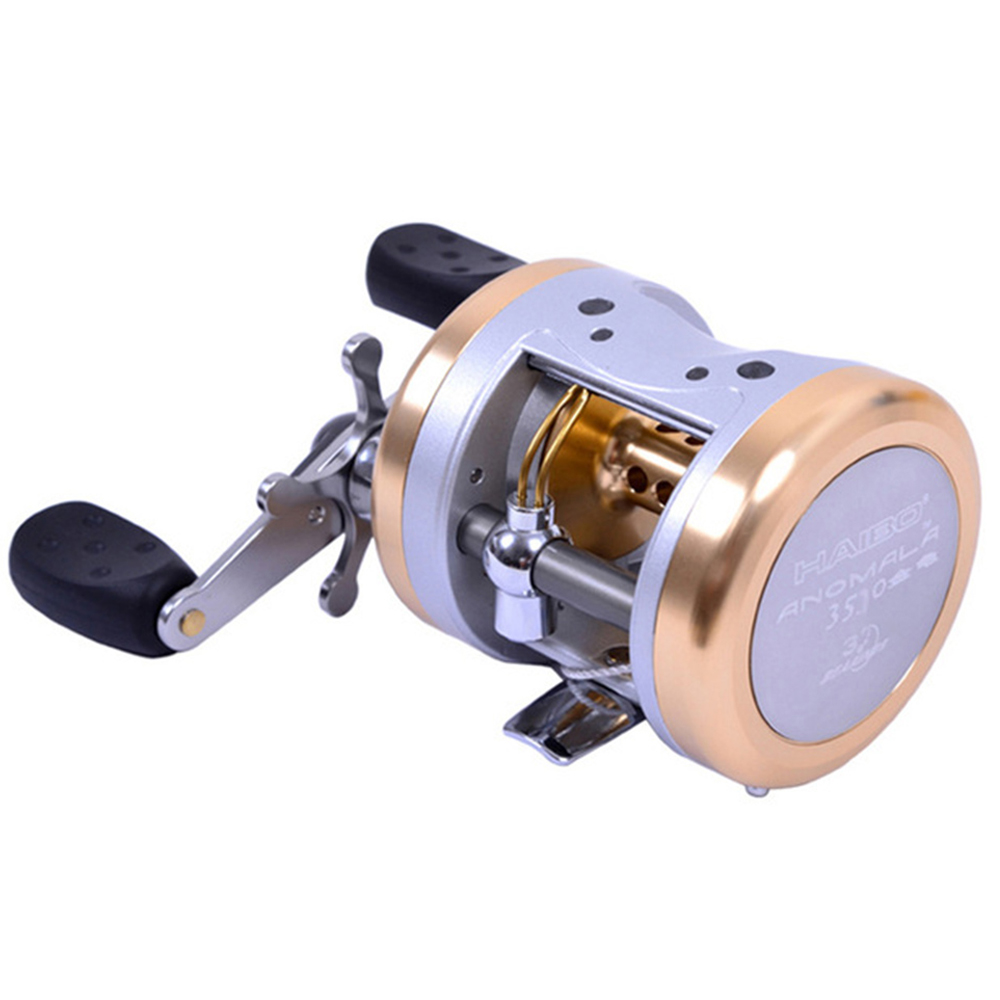 Haibo All Aluminum Drum Type Alloy Baitcasting Fishing Reel Saltwater Boat 3BB+1RB Casting Trolling Reel Haibo 3530 trolling reel 9 1bb drum wheel carp baitcasting reels centrifugal brake casting saltwater fishing reel super power drag 30kg