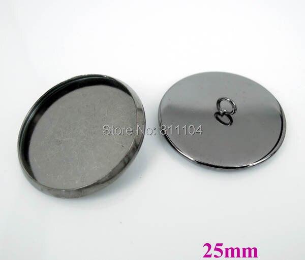 25 мм Gunmetal Черный Медь Покрытая Пустые Основы Круглый Круг Рамка Кабошон Настройки Шапки Кнопки Назад Loop Выводы
