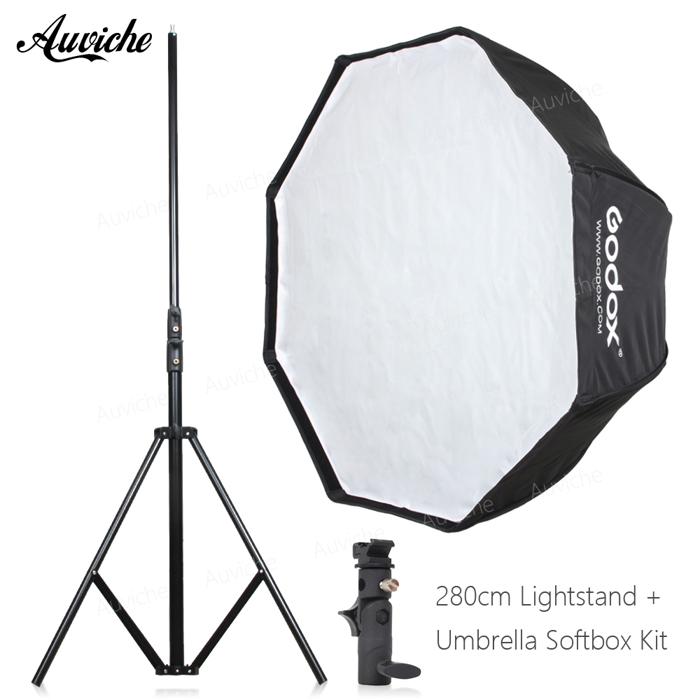 GODOX 120cm Speedlight Flash Octagon Umbrella softbox for Speedlight Flash Studio flash Hot shoe bracket
