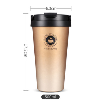 UPORS Portable 500 ML Stainless Steel Coffee Mug Double Wall Vacuum Insulated Travel Mug with Leak Proof Lid Wide Mouth Tumbler