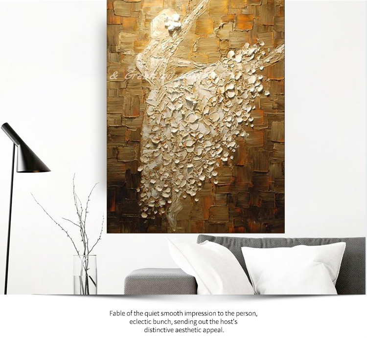 Ballet Dancer Hand Painted Modern Abstract Palette Knife Oil Painting On Canvas Wall Art For Living Room Home Decoration in Painting Calligraphy from Home Garden