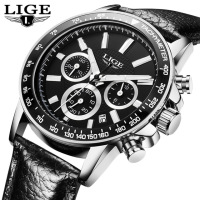 Fashion LIGE Mens Watches Leather Strap Sport Quartz Watch Man Casual Chronograph Date Wristwatch Relogios Masculino