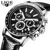 Fashion LIGE Mens Watches Leather Strap Sport Quartz Watch Man Casual Chronograph Date Wristwatch Relogios Masculino