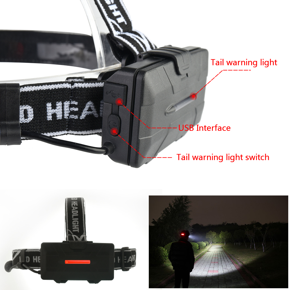 Купить с кэшбэком Super Powerful headlamp 4* XM-L T6 +2*COB+2*Red LED Head Lamp Flashlight Torch Lanterna with batteries charger Headlight