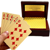 24 Kinds Gold/Silver Waterproof Plated Poker Premium Matte Plastic Board Games Playing Cards For Gift Collection with Wooden Box