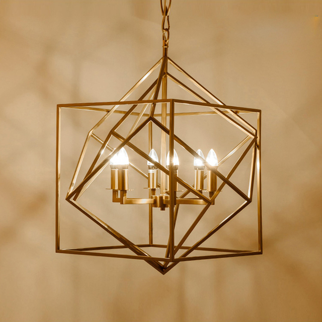 Gold cage lamp shade geometry kitchen light modern pendant lights gold cage lamp shade geometry kitchen light modern pendant lights home lighting light fixture for living mozeypictures Choice Image