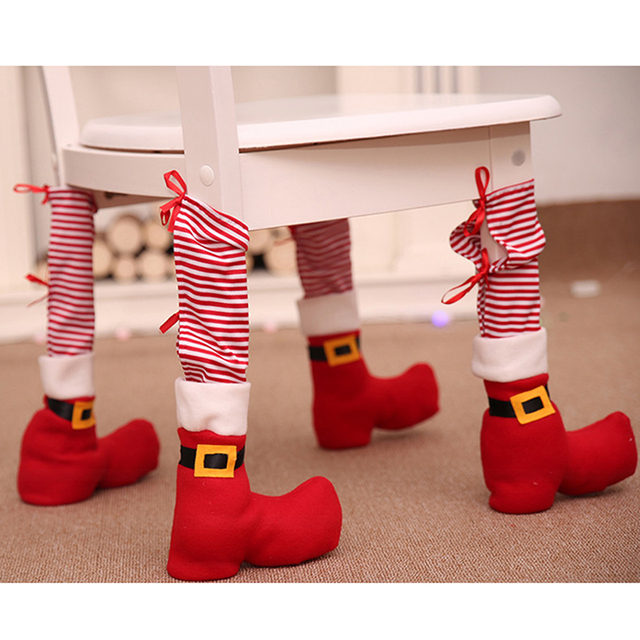 9f0a91a62367e US $2.74 5% OFF|Funny Red Xmas Shoes Chair Leg Caps Feet Pads Furniture  Table Covers Wood Floor Protectors Home Christmas Party Decorations-in  Party ...