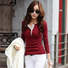 ATOFUL Spring Autumn Tee Shirt Femme Tees Women Button V Neck Solid Tshirt Womens Tops Fashion Slim Cotton T-shirt Long Sleeve