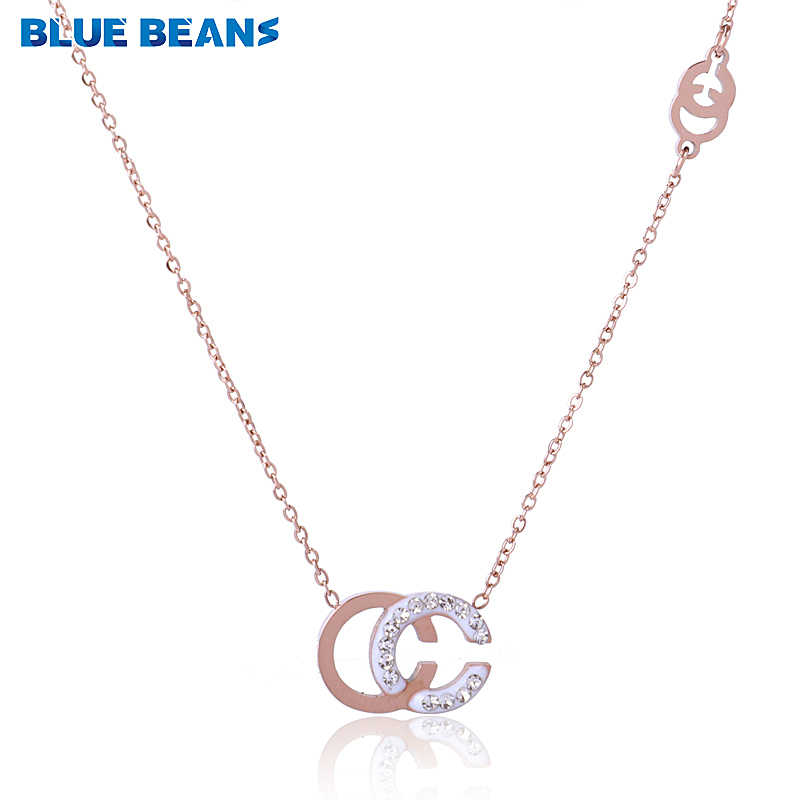 2018 New Fashion Stainless Steel Necklace For Women Rose Gold Color Chain Choker Letter C Pendants With Crystal Colar CC Jewelry