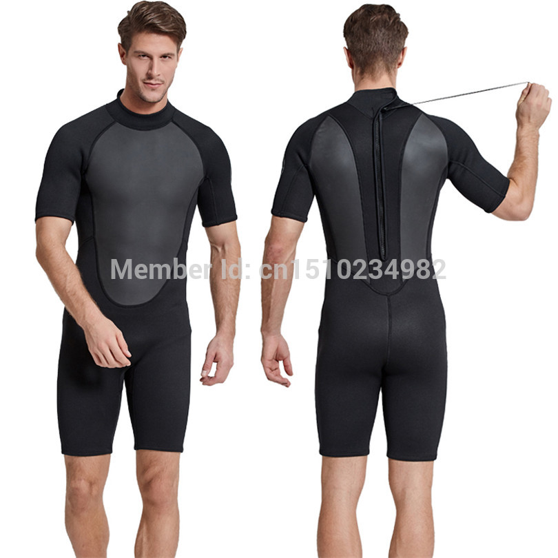 SBART 2MM One Piece Neoprene Wetsuit Men Warm Scuba Diving Suit Triathlon Wetsuit for Cold Water Swimming Surfing Snorkeling