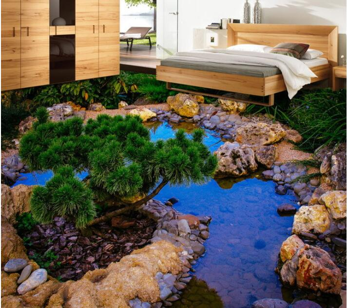 ФОТО 3 d flooring custom waterproof self adhesion 3d rockery pool plant flowers 3d bathroom flooring photo wallpaper for walls 3d