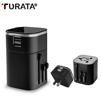2 in 1 World Travel Adapter Universal AU US UK EU Plug Dual 2 Usb-poort AC Power Charger Socket Muur Converter Met Rits tas