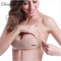 Sexy Women Self Adhesive Strapless Invisible Women Underwear Bras Backless Stick Gel Silicone Push Up Women