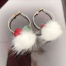 Charmcci Women Fashion Earrings Round Golden Circle Drop With Fur Pompom Ball Pending Female Jewelry