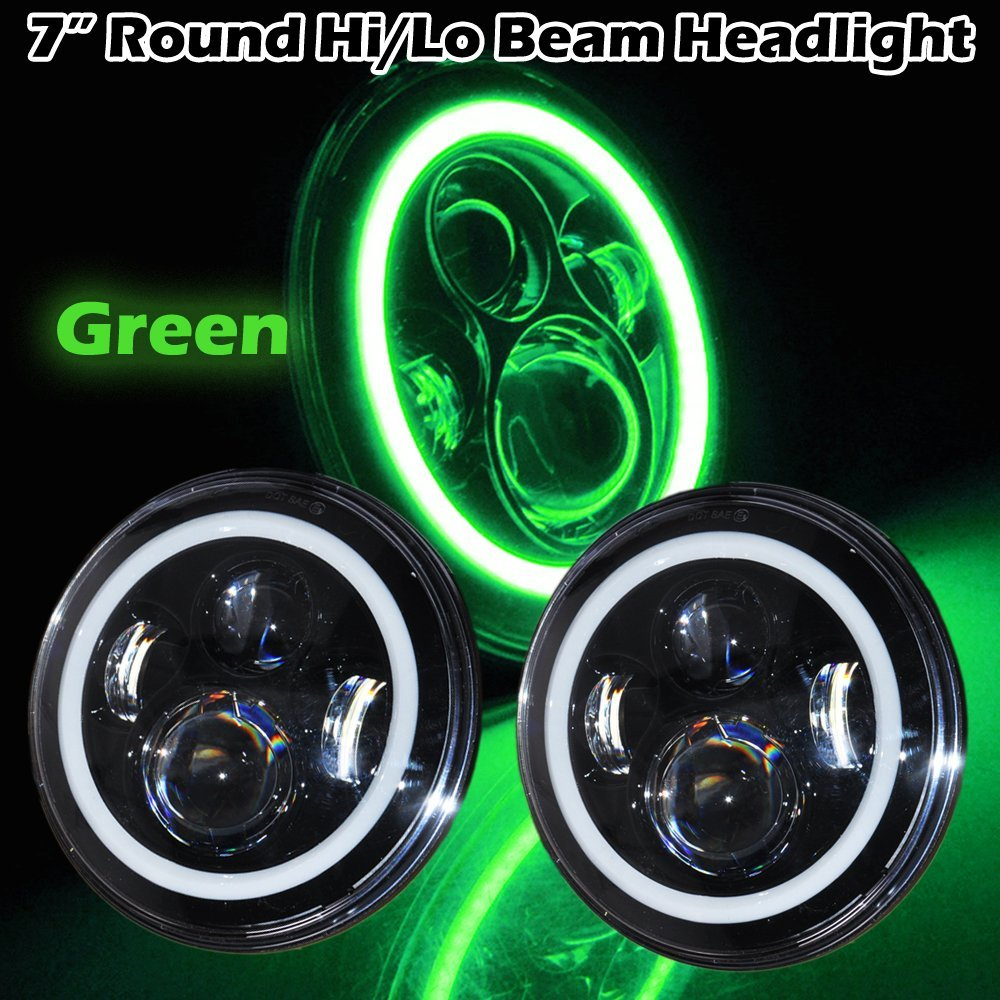 40W 7inch Round LED Headlight Green Halo Angel Eyes High/Low Beam for Jeeps 07-15 Wrangler JK Motorcycles headlight 7inch led motorcycle headlights 7 round 40w high low beam with angel eyes for 97 2015 jeeps wrangler jk