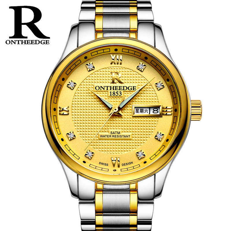 relogio masculino Luxury men wristwatches gold quartz clocks business man stainless steel watch male casual waterproof calendar fashion man watch silver quartz sport business wristwatches stainless steel mesh clocks male luxury date casual watches for men