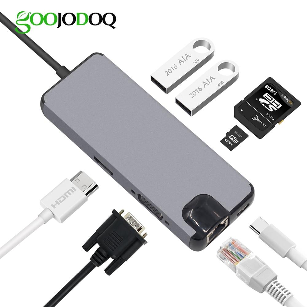 USB Type C To HDMI VGA Gigabit Ethernet Lan RJ45 Adapter For Macbook Air Pro 2018 Type-C USB-C Hub Card Reader USB 3.0 PD Port