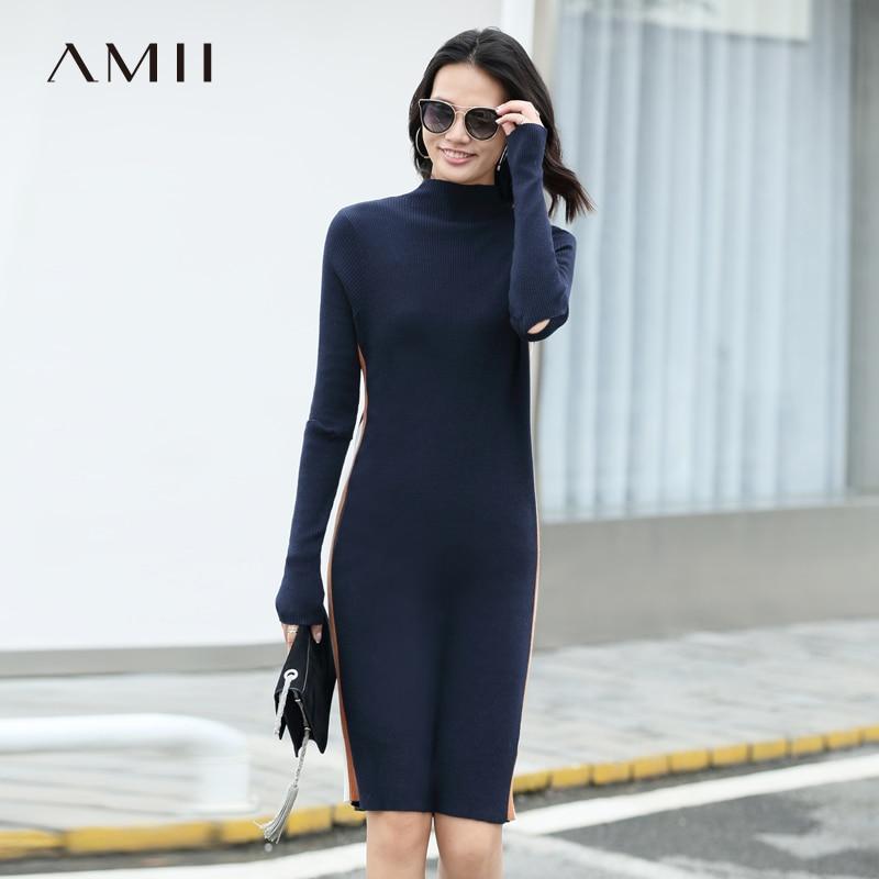 Amii Minimalist Woolen Sweater Women Autumn 2018 Causal Solid Wool Patchwork Stripe Turtleneck Female Bodycon Dresses