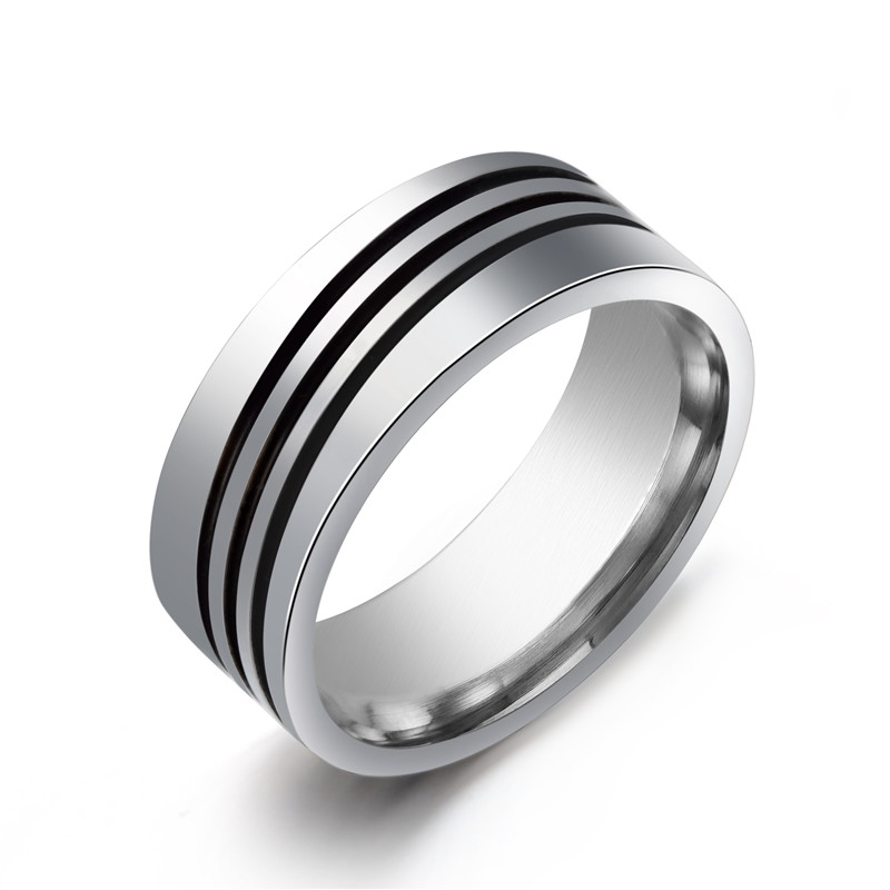 8mm Triple layer Stripe rings 316L Stainless Steel men finger ring wholesale lots
