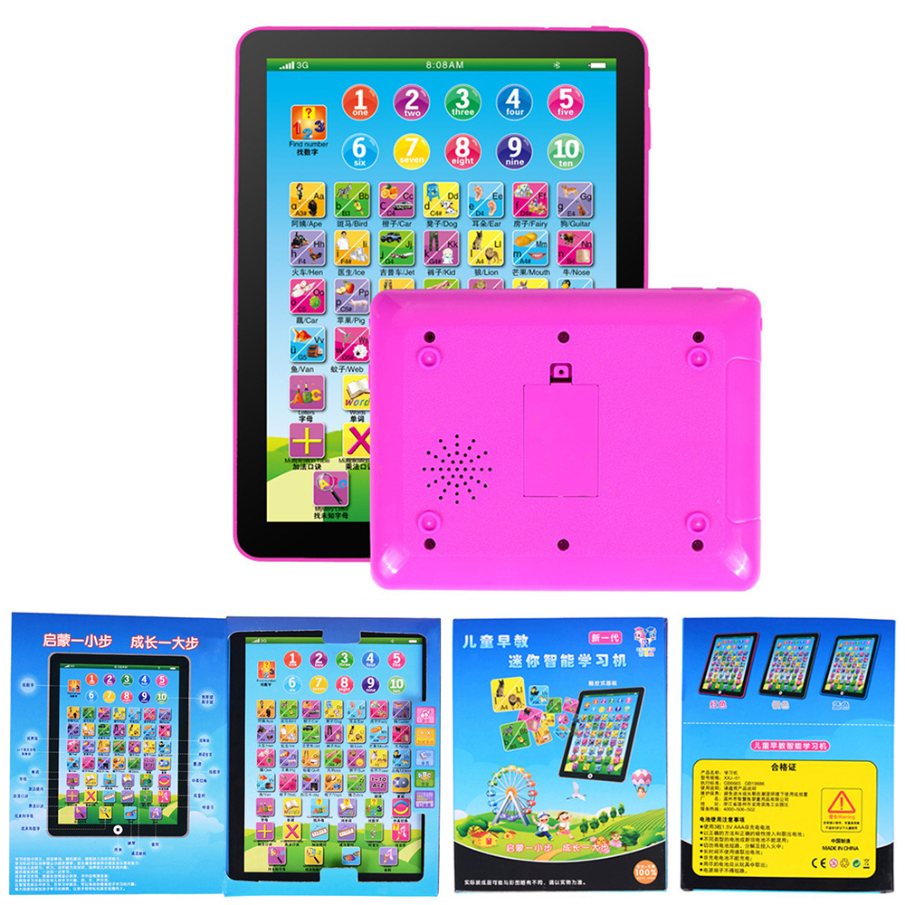 Simulation Tablet Pad Learning Machine Portable Durable Plastic Pink Movie Music Education Children Learn ...