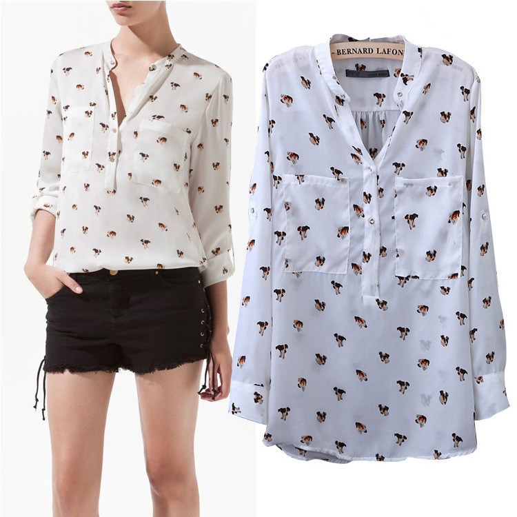 Aliexpress.com : Buy SZ064 2017 Fashion Women's Dog Print Cute ...