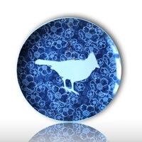 Personality Handmade Secret Garden Bird Plate Ceramics Wall Hanging Decorative Craft Plate Simple Lines Flowers & Birds Painting