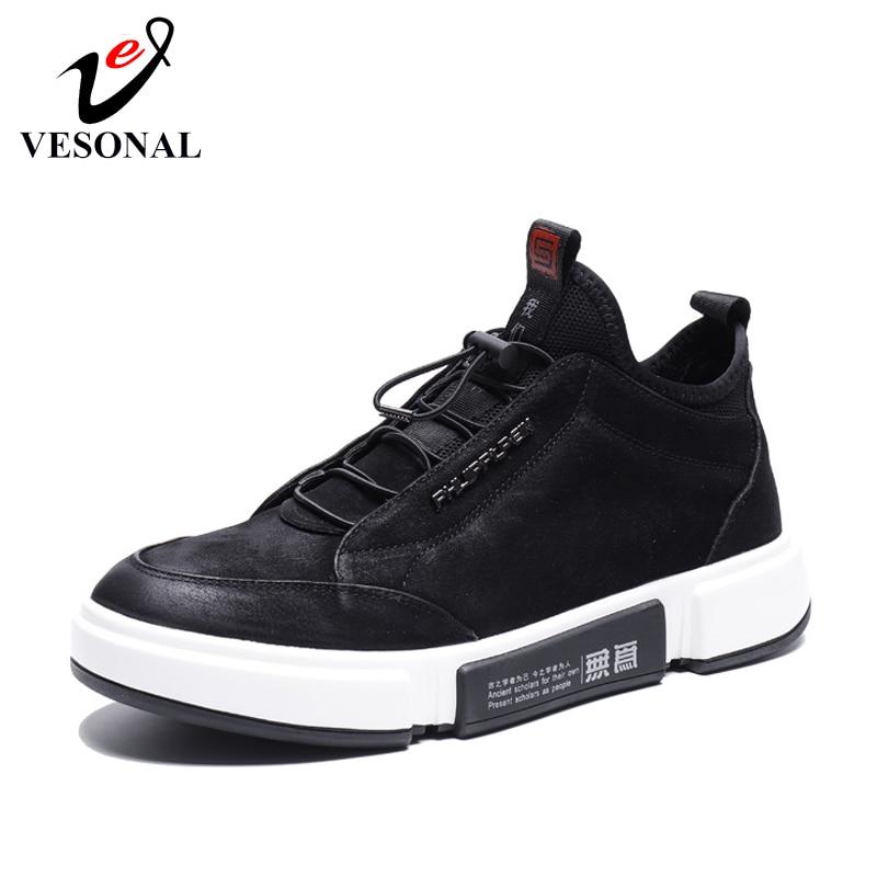Calçado De Couro suede Primavera Genuíno Sneakers Alta Confortável Preto Masculino Casual Topo Sexo Moda Luxo Sapato Para Suede Sapatos O Vesonal 2019 Homens Fx7SBwtnq