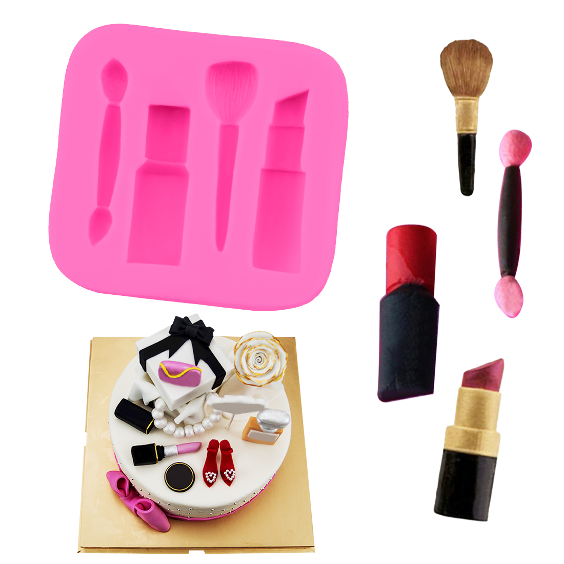 Cake Fondant Nails: Baking Pan 1PC Silicone Fondant Cake Mold Makeup Lipstick