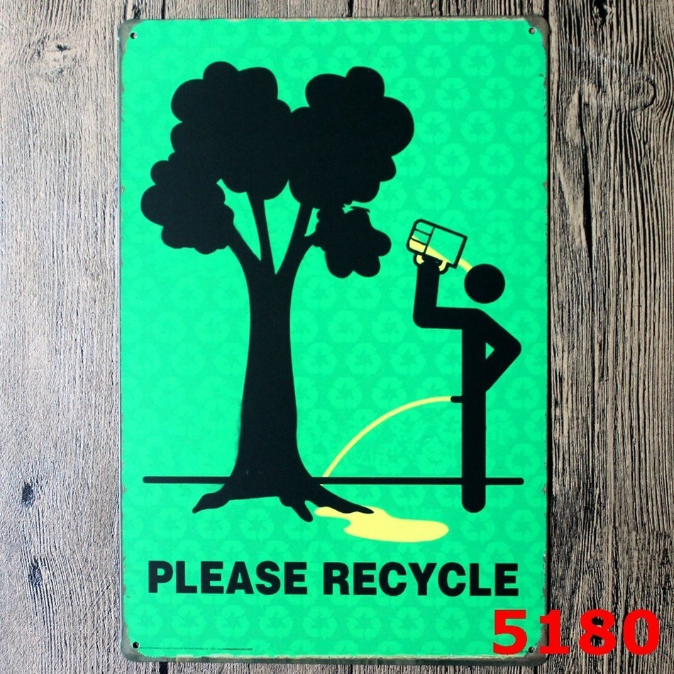 Please recycle metal signs bar wall art painting vintage for Craft paint for metal