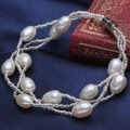 Charms White Genuine Freshwater Multistrand Pearl Bracelets women beads and magnetic clasp,China Pearl Jewelry Wholesale