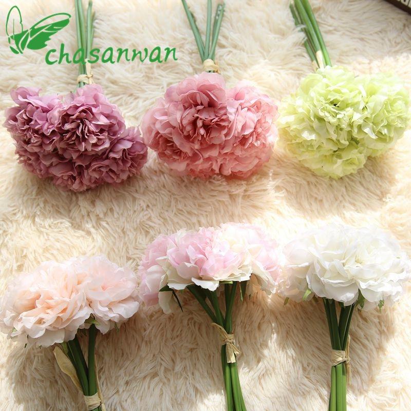 Barato! 5 Unids Peonías Flores Artificiales Ramo de Novia de Flores Artificial P