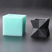 SN0034 3D Bình Hoa Xi Măng Nồi Khuôn Hoa Hình Dạng Hình Học Khuôn Silicon Tay Mọng Nước Bê Tông Khuôn Mẫu Thơm Đá Moulds