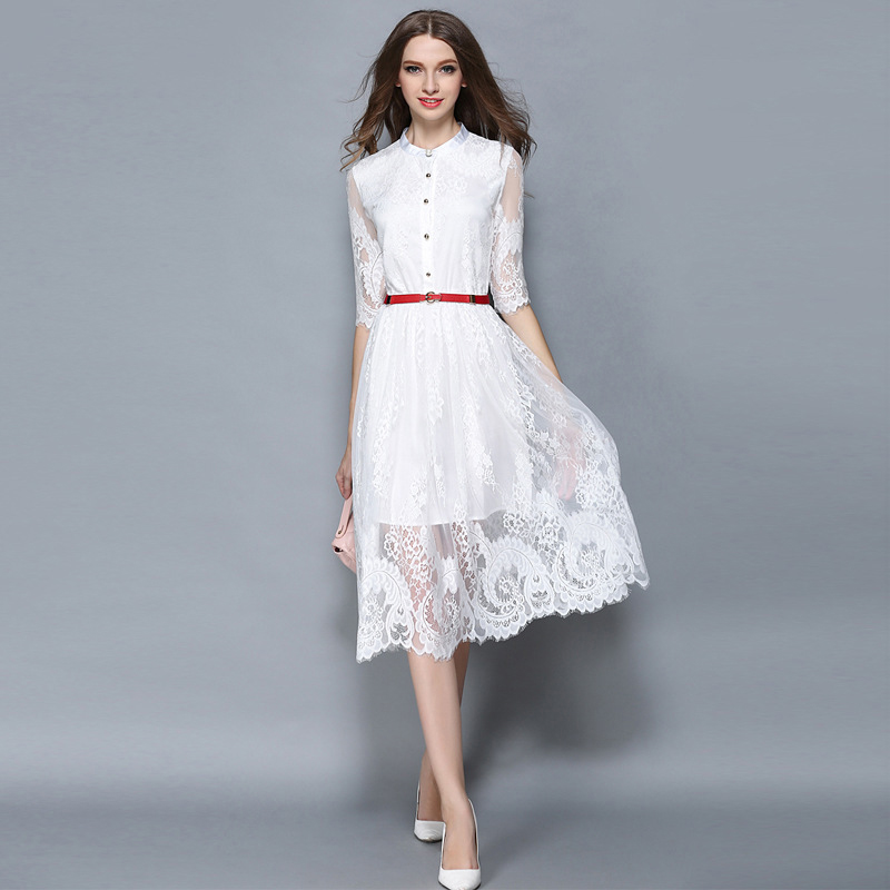 a253ceafc FLEAP Fashion Lace White Black Dress Hollow Out Embroider Red Belt ...