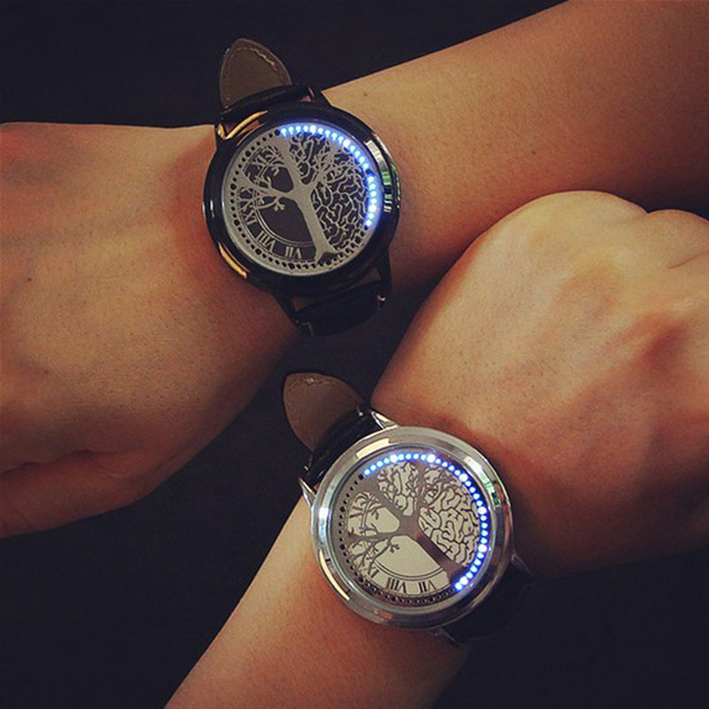 Touch Screen LED Digital Couple Wristwatches Fashion Tree Shaped Dial Leather St