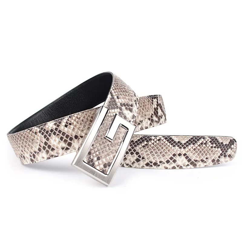 Fancy Genuine Real Snake Leather Stainless Steel Metal Slide Buckle Businessmen Suits Belts Exotic Python Skin