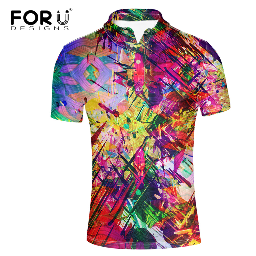 FORUDESIGNS Summer Mens Casual Polo Shirt Stylish 3D Pattern Short Sleeve Tops Tees Breathable Cotton Shirt Fitness Teen Hombre mens casual 3d personality skull printing short sleeve t shirt cotton sport black tees