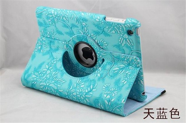 360 Degree Rotating Grape Grain Pattern PU Leather Case For Apple iPad 5