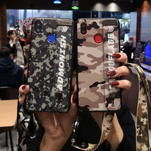 Camouflage Fundas Lanyard Holder Stand Phone Case for Huawei P20 P10 Plus Wristband Cover On Honor 9 10 V9 V10 6X 7X 8X